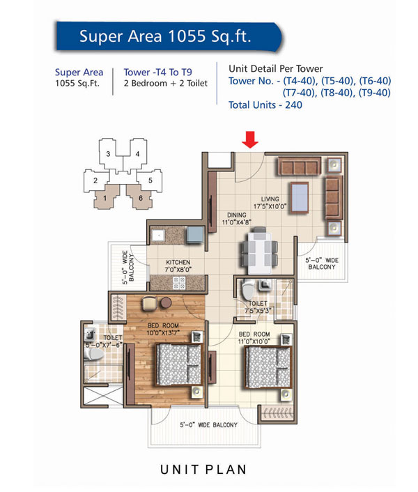 Tower - T4 To T9, 2 Bedroom + 2 Toilet, Salable Area - 1055 sq.ft.