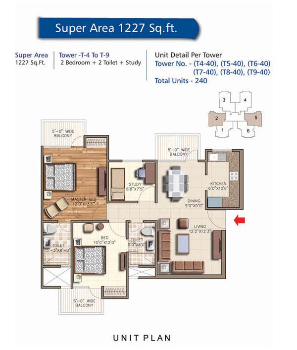 Tower - T4 To T9, 2 Bedroom + 2 Toilet + Study, Salable Area - 1227 sq.ft.
