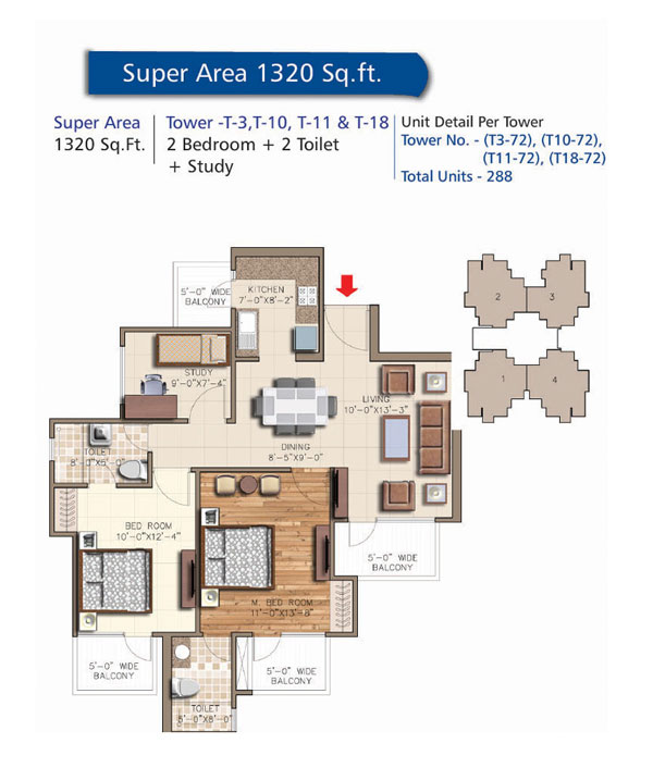 Tower - T3, T10, T11 & T18, 2 Bedroom + 2 Toilet + Stuty, Salable Area - 1320 sq.ft.