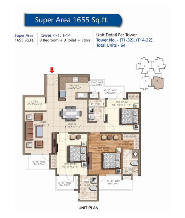 Tower - T1 - T14, 3 Bedroom + 3 Toilet + Store, Salable Area - 1655 sq.ft.