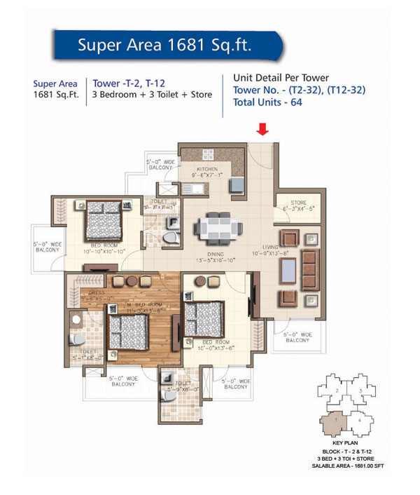 Block - T16 & T17 , 3 Bedroom + 3 Toilet + SER, Saleable Area 1681 sq.ft.