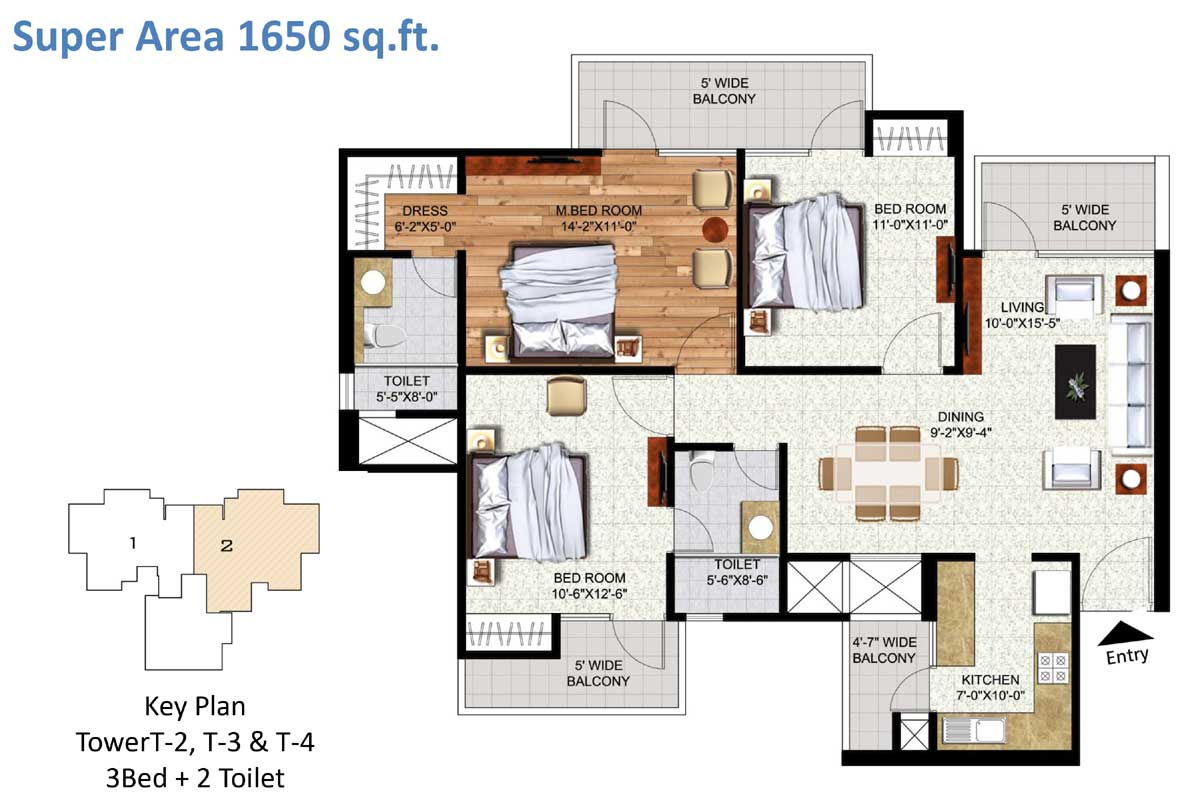 Salable Area - 1600 sq. ft. - 3 Bedroom + 2 Toilets Key Plan Tower T-2, T-3 & T-4