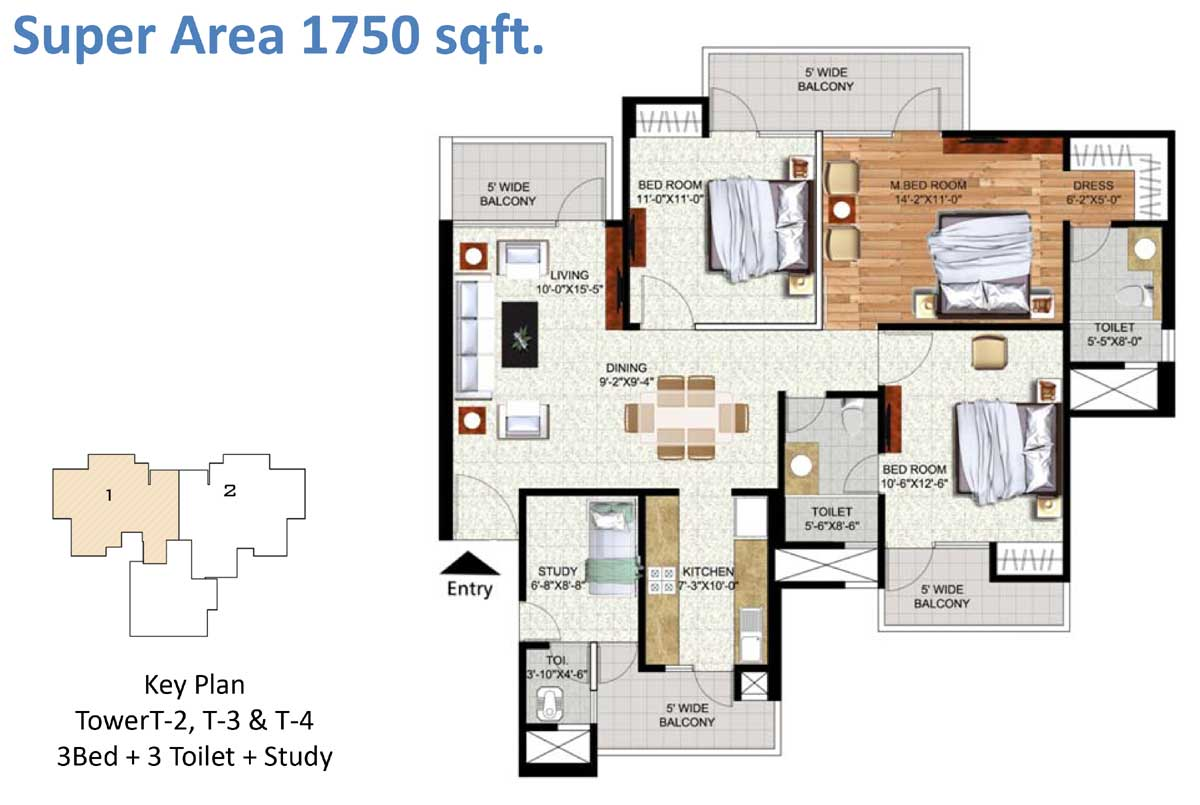 Salable Area - 1700 sq. ft. - 3 Bedroom + 2 Toilets + Study Key Plan Tower T-2, T-3 & T-4