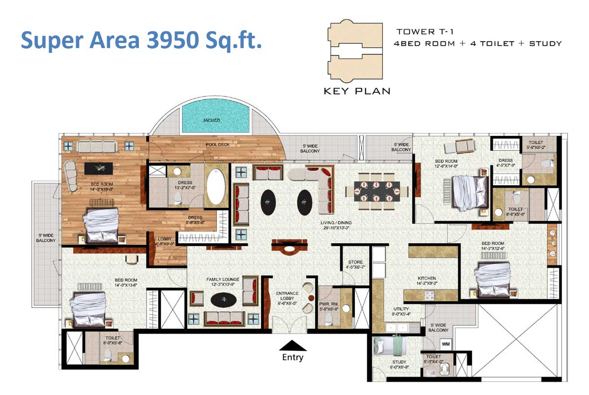 Salable Area - 3900 sq. ft. - 4 Bedroom + 4 Toilets + Study Key Plan Tower T-1